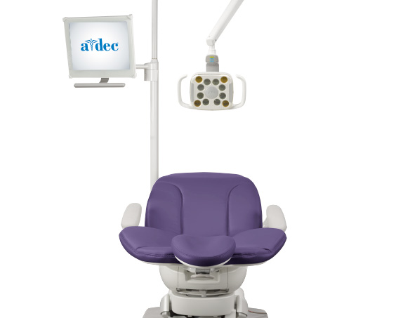 A-dec 400 dental chair with monitor mount